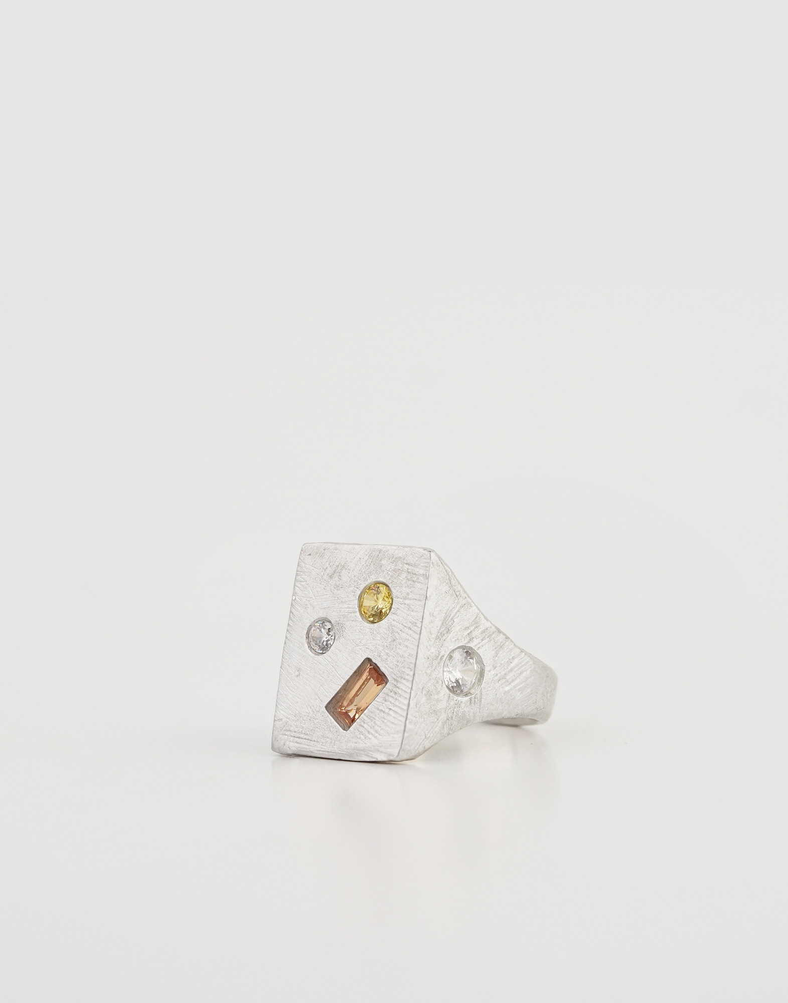 Signet ring(Lemon Orange Crystal)